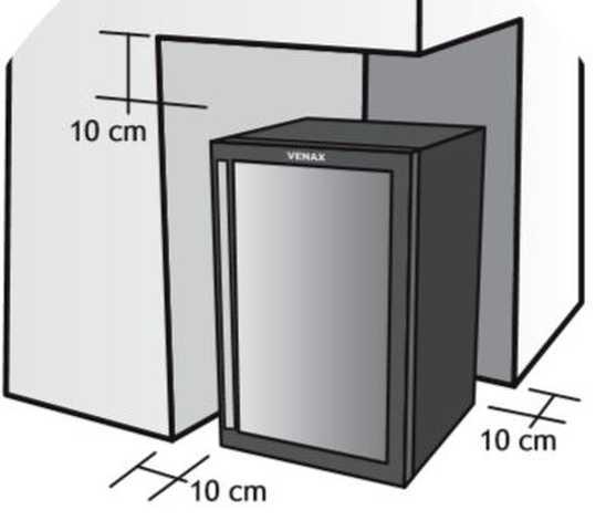 Instalação da Adega Venax - distâncias ao redor do produto
