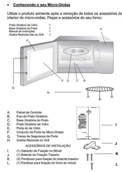 Medidas do Microondas de embutir 25L Tecno - Velox TM25