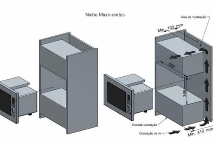 Instalação do microondas Fogatti m230 - detalhes do nicho