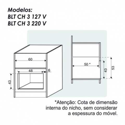 Nicho de instalação da churrasqueira elétrica de embutir 3 espetos Built - BLT CH3