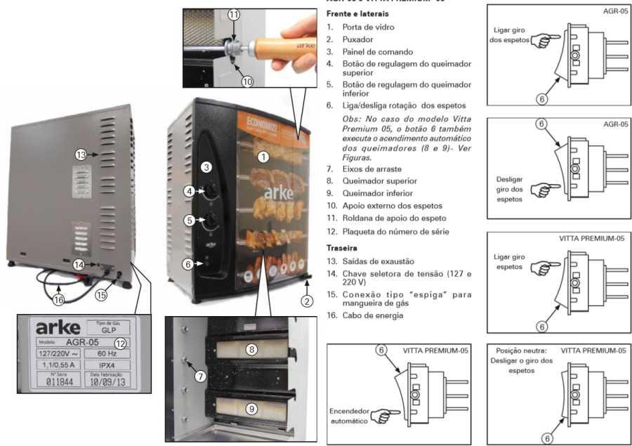 Assador a gás de bancada 5 espetos Arke - AGR-05 - Conhecendo o produto