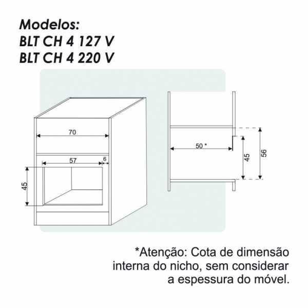 Nicho de instalação da churrasqueira elétrica de embutir 4 espetos Built - BLT CH4