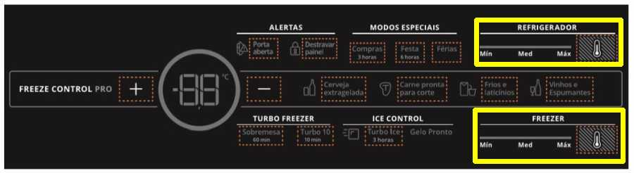 Ajustar temperatura da Geladeira Brastemp Frost Free Inverse - BRY59 - ajuste de temperatura