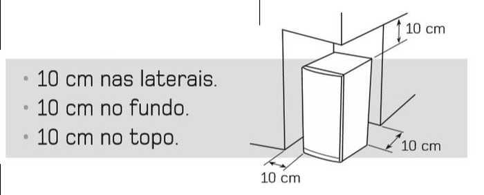 Freezer vertical Brastemo 228 litros - instalação - distâncias ao redor