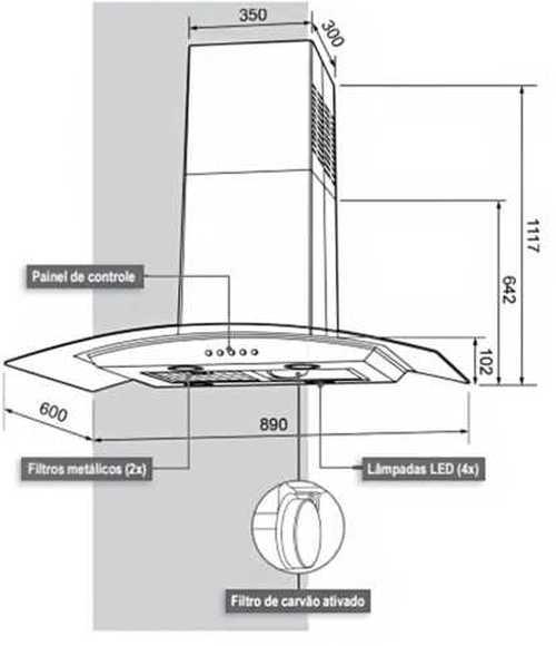 Coifa de ilha Cadence CFA502- Conhecendo produto