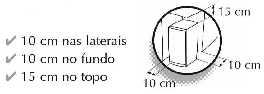 Freezer vertical Consul  231 litros - instalação - distâncias ao redor