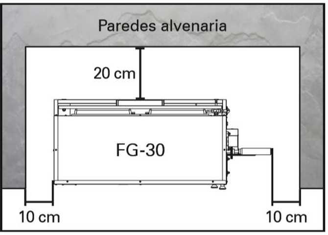 Assador de frango Arke FG-30 - Distancias ao redor