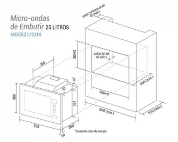 Microondas de embutir Suggar 23 litros - Nicho de instalação