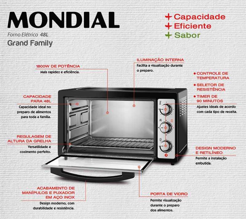 Medidas do forno elétrico Mondial - Detalhes do modelo