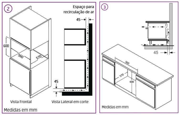 Instalação do forno elétrico Midea - dimensões do nicho