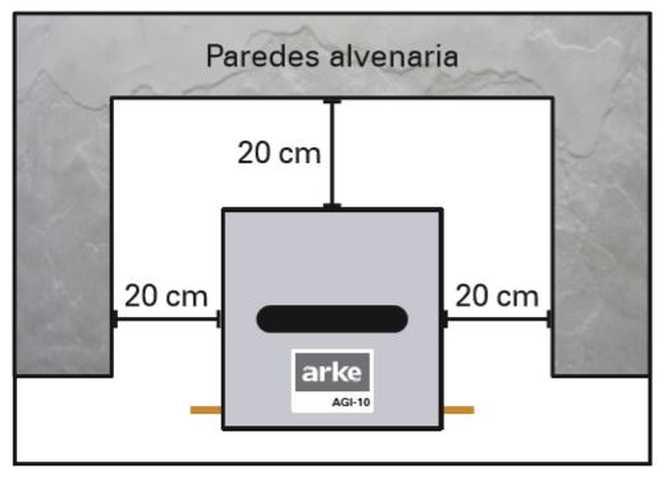 Instalação da churrasqueira Arke - AG10 - Distância ao redor do produto