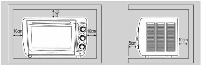 Forno elétrico de bancada Cadence - Instalação - distâncias ao redor do produto