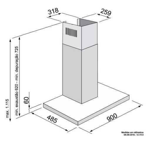 Coifa Elettromec Adria parede 90 cm - dimensões