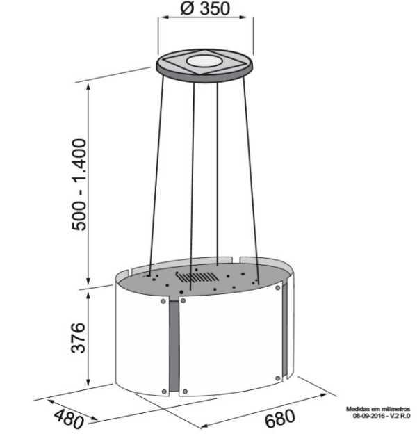 Coifa Elettromec Arcobaleno Ilha 70cm