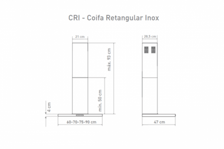 Coifa de parede Vidro Retangular Fogatti - dimensões