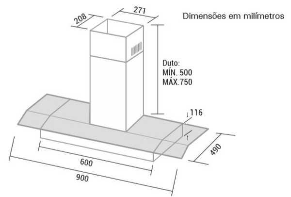 Depurador de ar Suggar 90 cm - DV92PT - dimensões