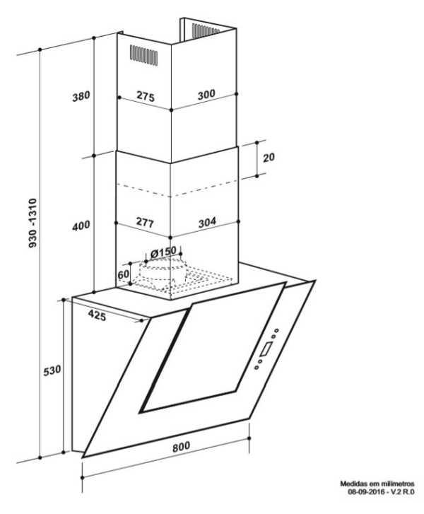 Coifa Elettromec Magma Parede 80 cm - dimensões