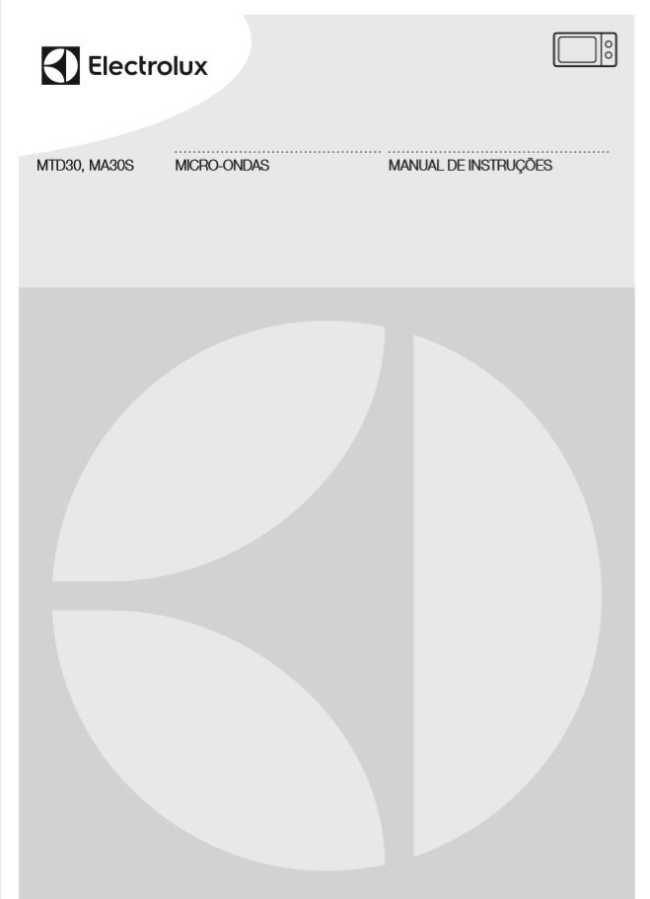 Manual de instruções do micro-ondas Electrolux 20 litros MA30S
