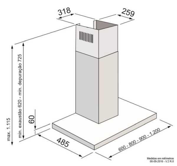 Coifa Elettromec Milano Parede 60 cm - medidas