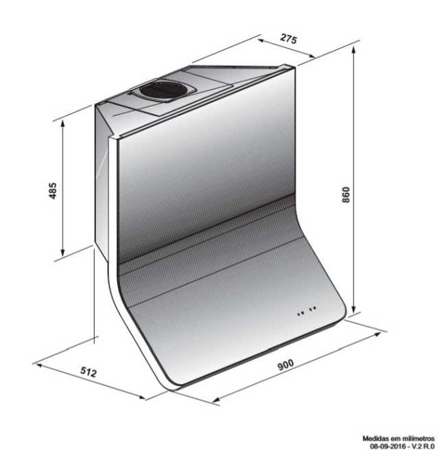 Coifa Elettromec Progettare Parede 90cm- medidas