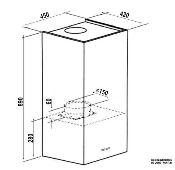 Coifa Elettromec Protheus Parede 45cm - medidas