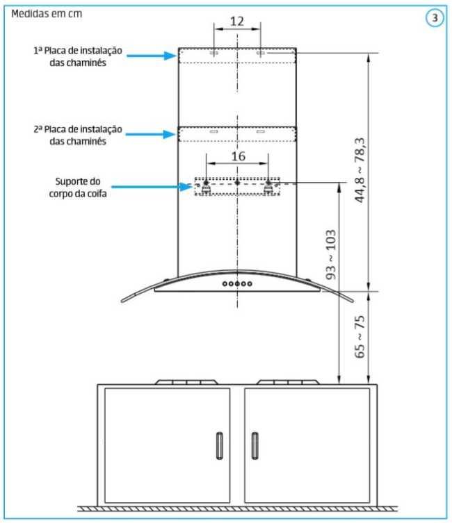 Coifa de parede Midea 60 cm - distância coifa - fogão