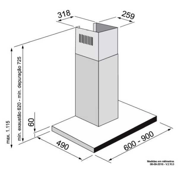 Coifa Elettromec Ravenna parede 60cm - medidas