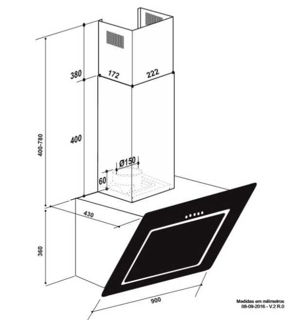 Coifa Elettromec Serata Parede 90cm - medidas