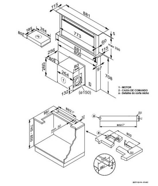 Coifa Elettromec Sollevare de embutir 90cm - medidas