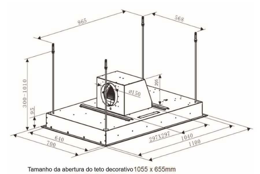 Coifa Elettromec Sospesa de embutir 110cm - medidas