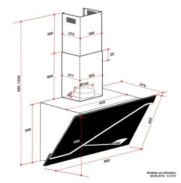 Coifa Elettromec Stile Parede 90cm - medidas