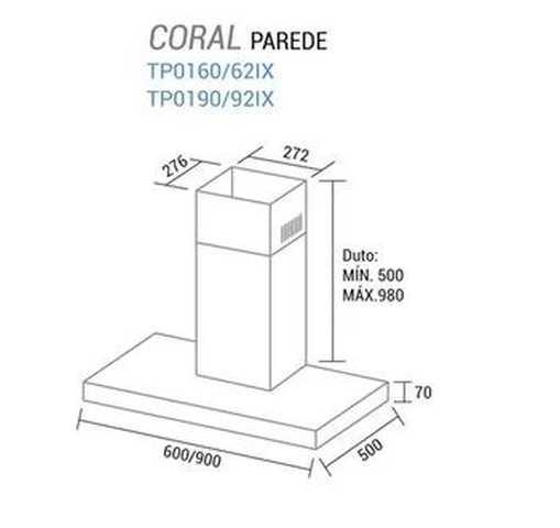 Coifa de parede Suggar Coral 90 cm - dimensões