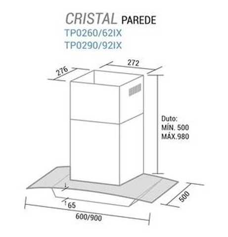 Coifa de parede Suggar Cristal 60cm - dimensões