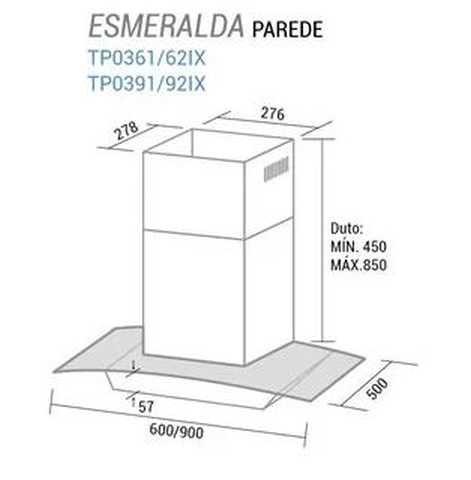Coifa de parede Suggar Esmeralda 60cm - dimensões