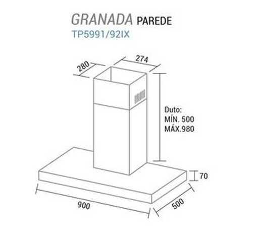Coifa de parede Suggar Granada 90 cm - dimensões