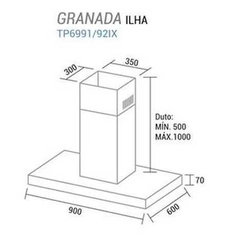 Coifa de ilha Suggar Granada 90 cm