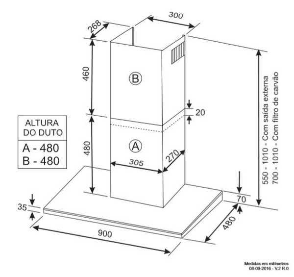 Coifa Elettromec Torino parede 90cm - medidas
