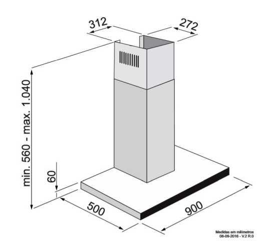 Coifa Elettromec Vetro Parede 90 cm - medidas