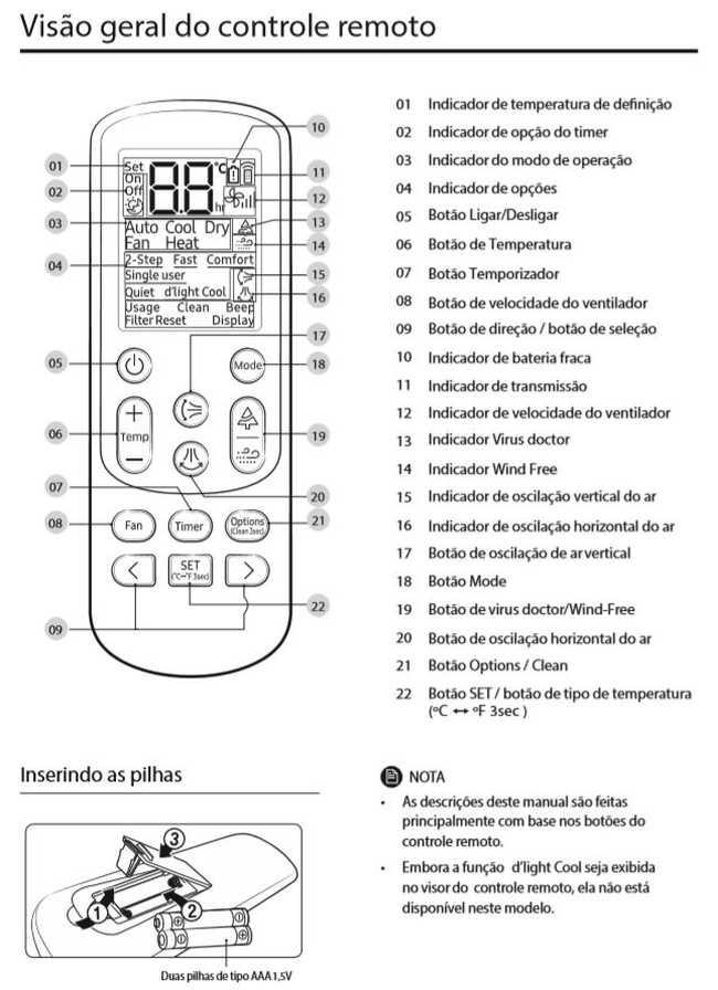 Ar condicionado split Samsung Wind Free quente e frio 9000 btu/h - conhecendo produto - controle remoto