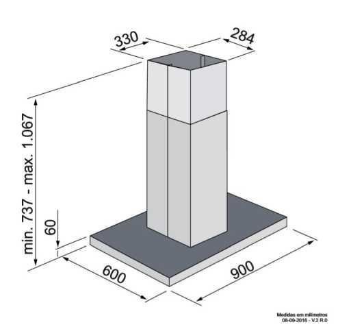Coifa Elettromec Adria Ilha 90 cm - dimensões