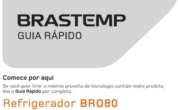 Manual de operação da geladeira Brastemp BRO80