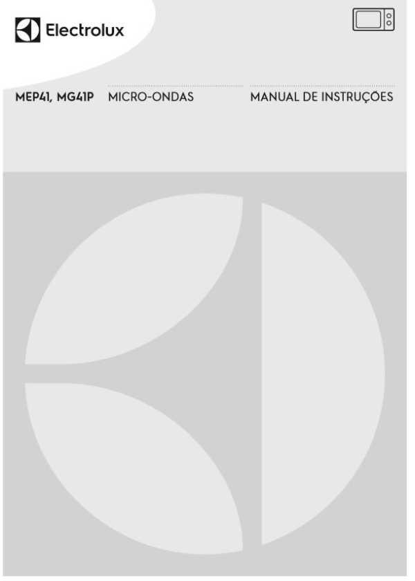 Manual de instruções do micro-ondas Electrolux 31 litros MEP41