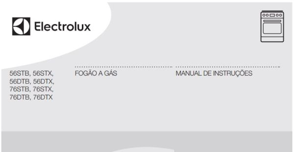 Manual de Instruções do fogão Electrolux 4 bocas de piso 56STX