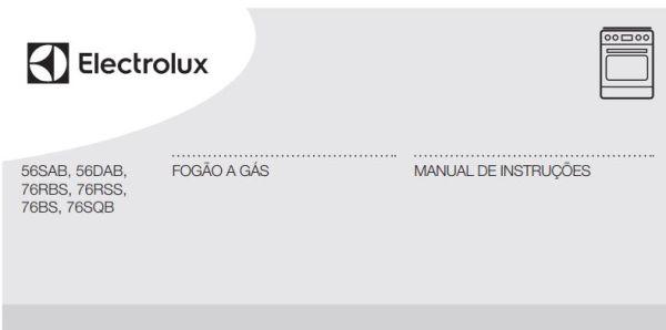 Manual de Instruções do fogão Electrolux 5 bocas de piso 76SQB