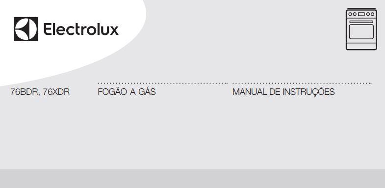 Manual de Instruções do fogão Electrolux 5 bocas de piso 76BDR