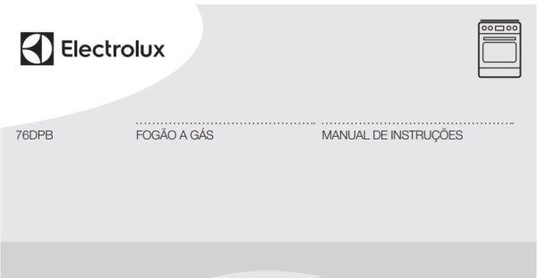 Manual de Instruções do fogão Electrolux 5 bocas de piso 76DPB