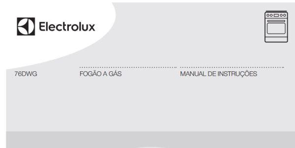 Manual de Instruções do fogão Electrolux 5 bocas de piso 76DWG