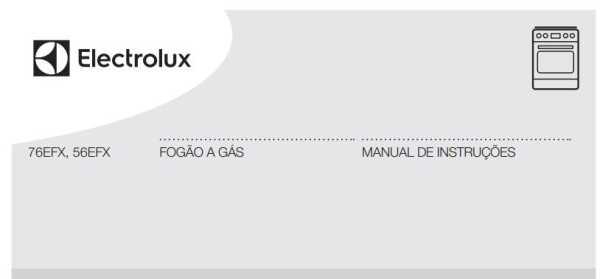Manual de instruções do fogão a gás Electrolux 4 bocas de embutir 56EFX