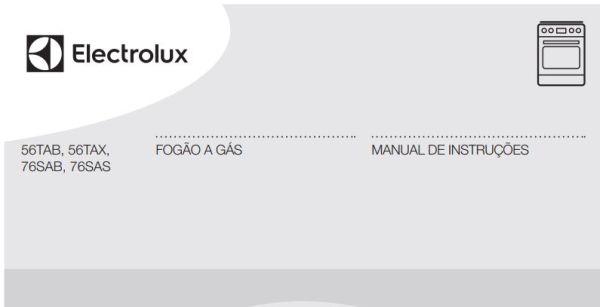 Manual de Instruções do fogão Electrolux 4 bocas de piso 56TAX