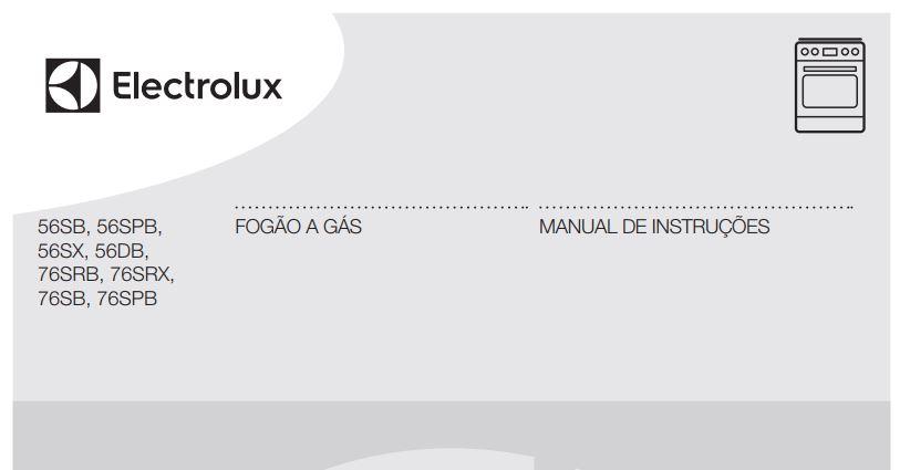Manual de Instruções do fogão Electrolux 4 bocas de piso 56SB